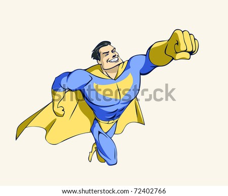 Illustration of a flying super hero in a winning pose - stock vector
