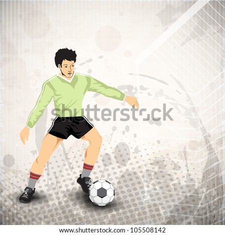 Illustration of a football player playing with soccer ball on abstract grungy background in grey color. EPS 10