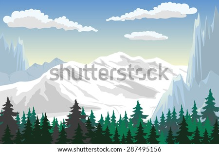 Illustration of a forest at the mountains - stock vector