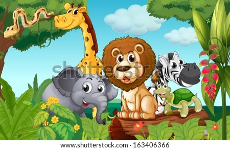 Illustration of a forest with a group of animals - stock vector