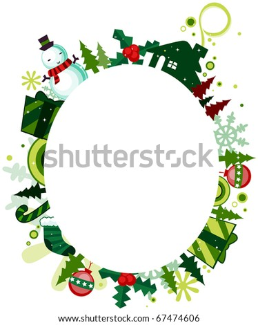 Illustration of a Frame Featuring Christmas Symbols - stock vector
