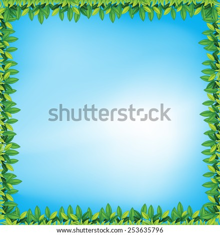 Illustration of a frame with leaves - stock vector