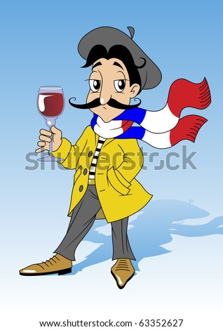 Illustration of a French patriot who holds in his hand a glass of red wine. He wears a yellow raincoat on his head black beret, a scarf around his neck, painted in national colors of France - stock vector