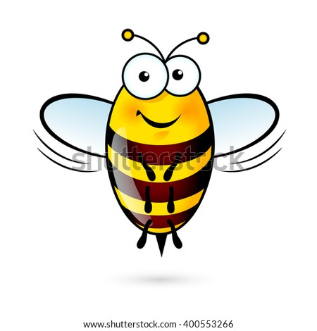 Illustration of a Friendly Cute Bee on White Background - stock vector