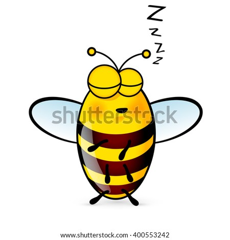 Illustration of a Friendly Cute Sleeping Bee - stock vector