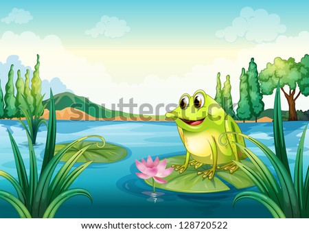Illustration of a frog at the river - stock vector