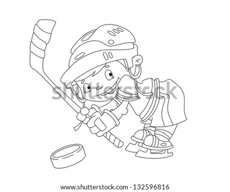 illustration of a funny boy hockey outlined - stock vector