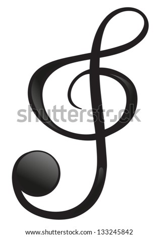 Illustration of a G-clef on a white background - stock vector