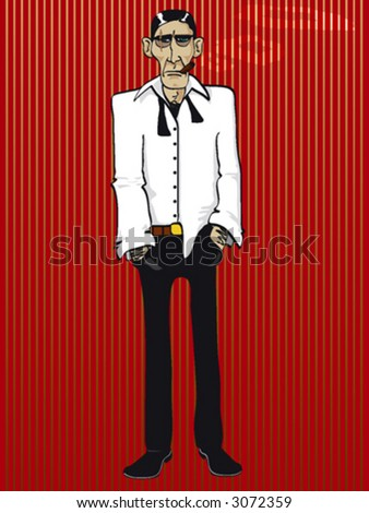 Illustration of a gangster boss with scarface - stock vector