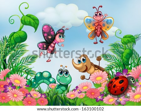 Illustration of a garden with insects - stock vector