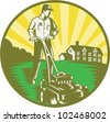 Illustration of a gardener with lawn mower mowing with residential house in background set inside circle done in retro woodcut style. - stock photo