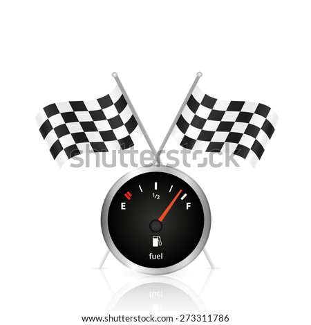 Illustration of a gas gage and checkered flags isolated on a white background. - stock vector