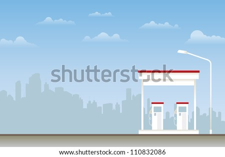 Illustration of a gas station in the city. - stock vector