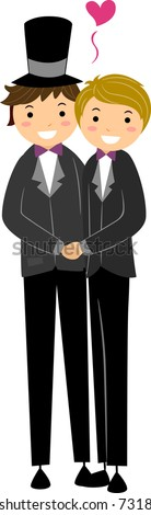 Illustration of a Gay Couple Dressed in Wedding Attire