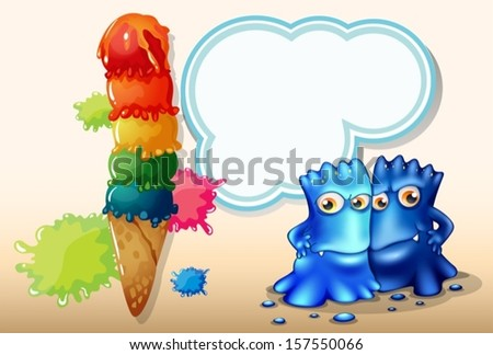 Illustration of a giant icecream beside the two blue monsters - stock vector