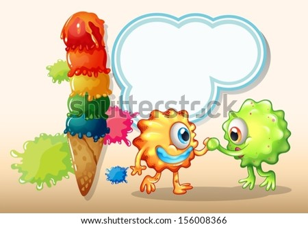 Illustration of a giant icecream near the two monsters with an empty callout - stock vector