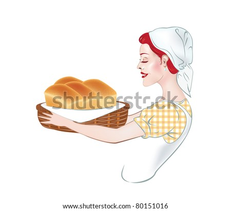 Illustration of a girl - a baker, which carries the basket of a few loaves of bread - stock vector