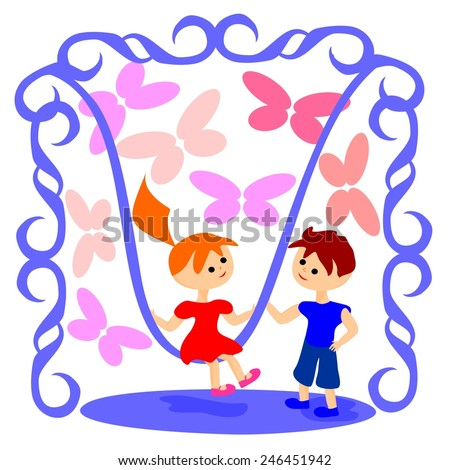Illustration of a girl and a boy with a swing