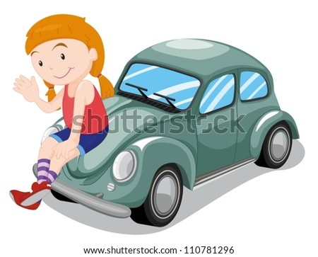 illustration of a girl and car on a white background - stock vector