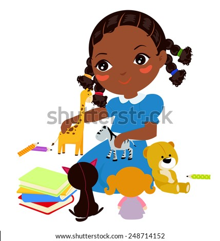 Illustration of a Girl  and playing - stock vector