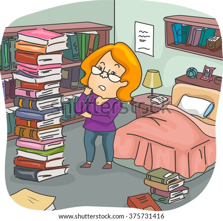 Illustration of a Girl Assessing the Pile of Books in Her Bedroom - stock vector