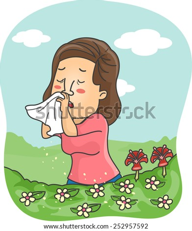 Illustration of a Girl Blowing Her Nose After the Pollen Triggered an Allergic Reaction - stock vector