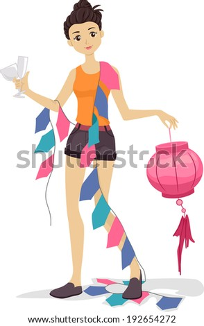 Illustration of a Girl Carrying Various Party Decorations
