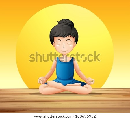 Illustration of a girl concentrating while doing yoga - stock vector