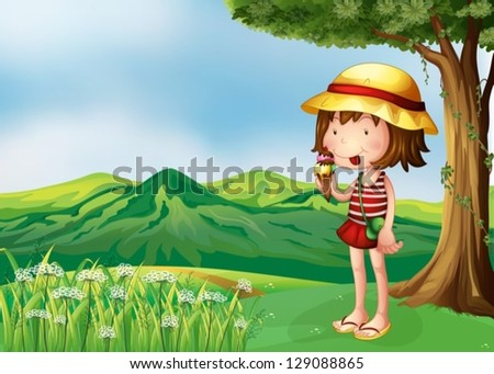 Illustration of a girl eating an icecream at the top of the hills