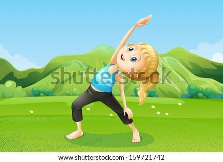 Illustration of a girl exercising barefoot at the field - stock vector