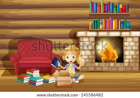 Illustration of a girl fixing her books near the fireplace - stock vector