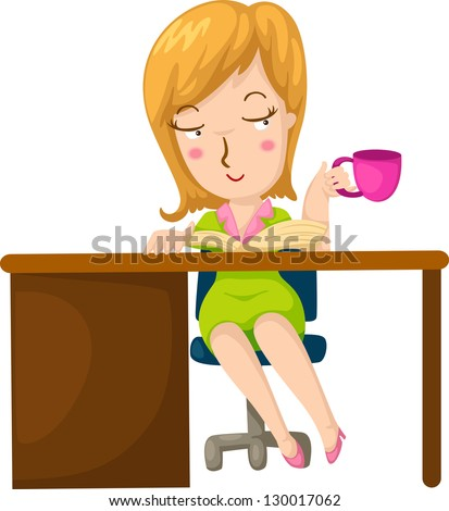 Illustration of a girl having coffee and reading a book - stock vector