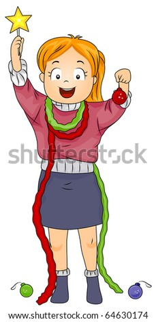 Illustration of a Girl Holding Christmas Decorations - stock vector