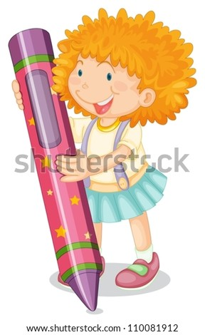 illustration of a girl holding pencil on a white - stock vector