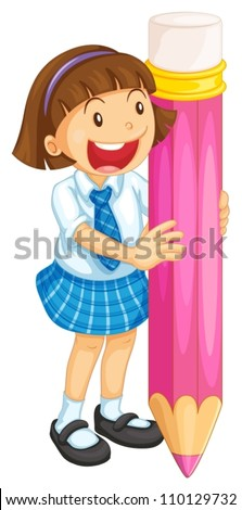 illustration of a girl holding pencil on a white