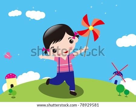 Illustration of a girl in the park - stock vector