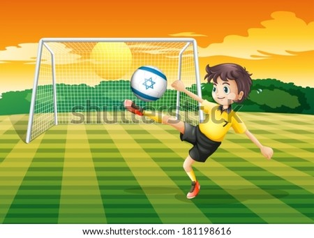 Illustration of a girl kicking the ball with the Israel flag