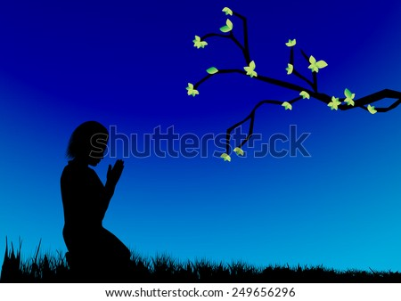 Illustration of a girl kneeling and praying -Vector illustration  - stock vector
