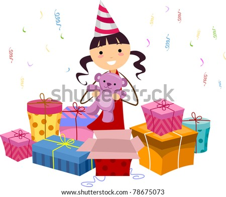 Illustration of a Girl Opening Her Birthday Gifts - stock vector