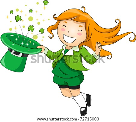 Illustration of a Girl Performing a Magic Trick - stock vector