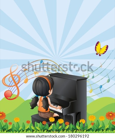 Illustration of a girl playing with the piano at the hills - stock vector