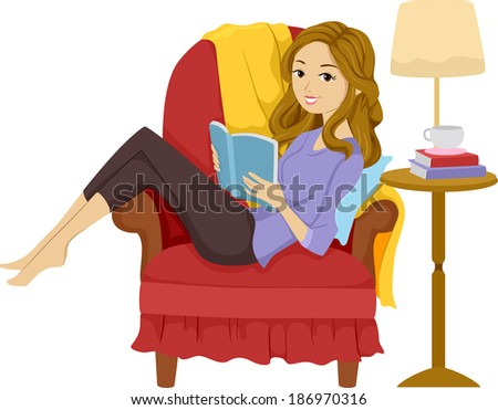 Illustration of a Girl Reading a Book While Reclining on a Chair