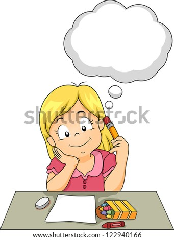 Illustration of a Girl Thinking About Her Art Project - stock vector