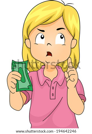Illustration of a Girl Thinking to Herself While Holding a Paper Bill - stock vector