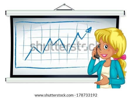 Illustration of a girl using her cellular phone in front of the bulletin board on a white background - stock vector