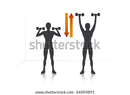 Illustration of a girl who pushing dumbbells.