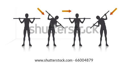 Illustration of a girl who tilt with stick. - stock vector