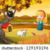 Illustration of a girl with a dog and bird - stock photo