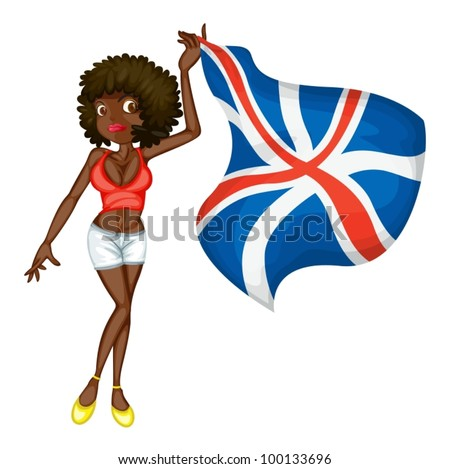 Illustration of a girl with a flag