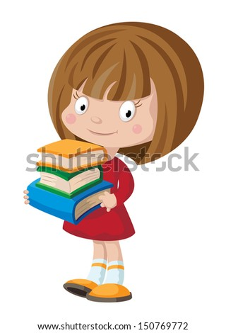 illustration of a girl with books - stock vector